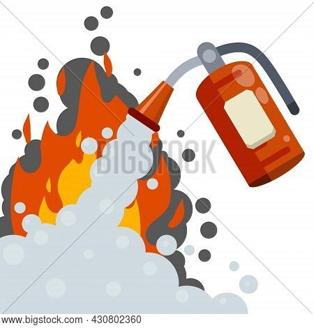 Extinguisher. Fireman Tool. Red Cylinder. Flat Cartoon Illustration. Smoke And Foam.