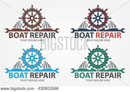 Boat Repair, Maintenance, Refurbishment Logo. Boat Wheel With Gear. Fix Icon.