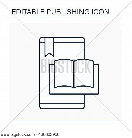 E-book Line Icon. Electronic Book.digital File With Text And Images Suitable For Distributing Electr