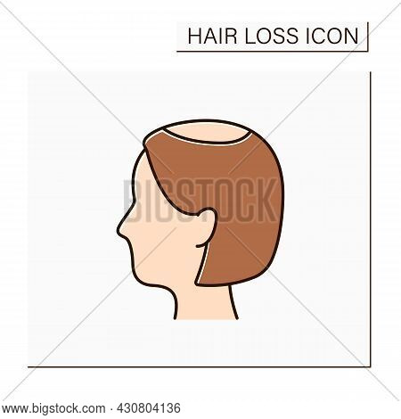 Hair Loss Color Icon. Woman Loses Hair. Widening Of Midline Part And Noticeably Decreased Hair Volum