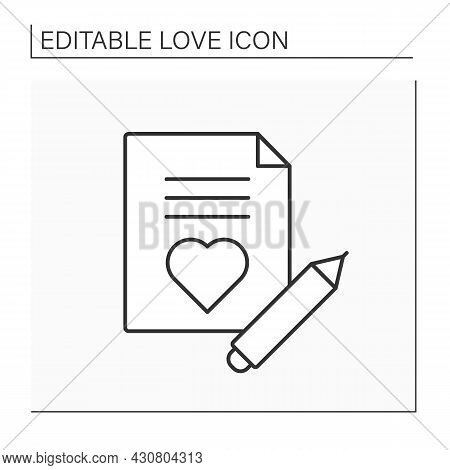 Love Letter Line Icon. Romantic Letter For Beloved Person. Love Declaration. Love Concept. Isolated