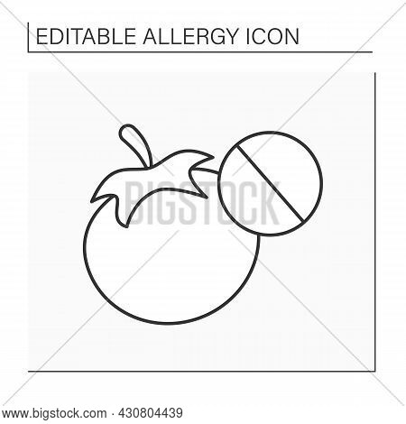 Allergy To Food Line Icon. Skin Allergy To Tomato Plant.healthcare Concept.isolated Vector Illustrat