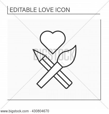Painting Line Icon. Brush And Pencil Crossed, Heart Sign. Romantic Interpretation. Love Concept. Iso
