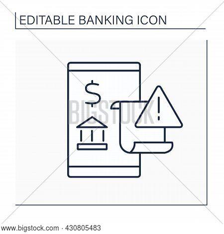 Billing Error Line Icon.mistake On Bill Resulting. Error In Billing Rates, Billing Methodology Or Ca