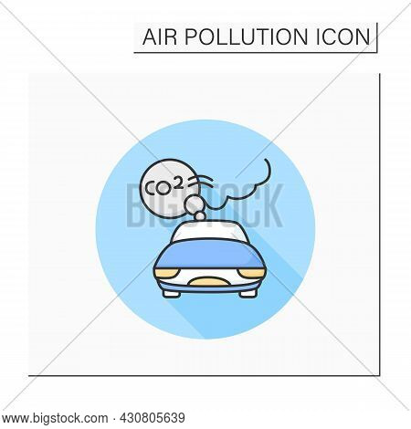 Car Emissions Color Icon. Co2 Car Exhaust Cloud. Industrial Smog, Biohazard Emissions. Greenhouse Ef