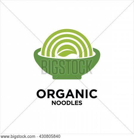 Organic Noodle Round Concept Vector Design Template, Vegan Noodle Logo Concept.