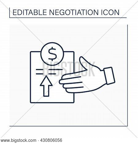 Proposal Line Icon. Profitable Plan Or Idea. Formal Document With Advantageous Offer. Negotiation Co
