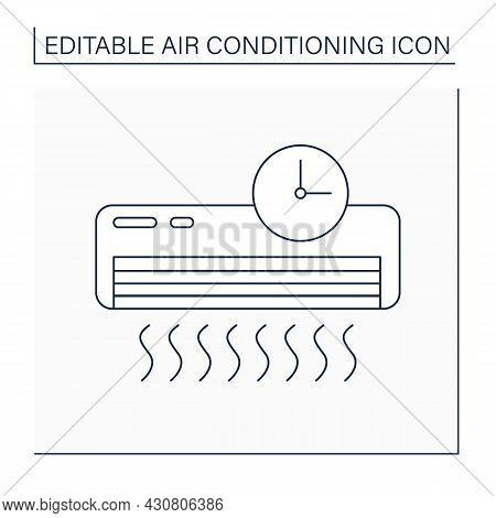 Timer Mode Line Icon. Mode For Automatically Switching On And Switching Off Conditioner. Air Conditi