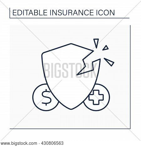 Loss Line Icon. Injury Or Damage That Insured Suffers. Medical Insurance. Insurance Concept. Isolate