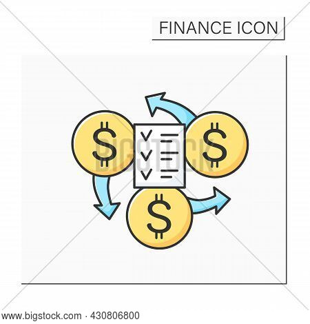 Financial Management Color Icon. Cash Flow And Budget Checklist. Personal And Business Accounting, I
