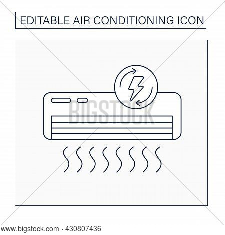 Air Conditioner Line Icon. Energy Saver Mode.lowering Energy Costs.air Conditioning Concept. Isolate
