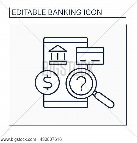 Bank Examination Line Icon.evaluation Of Financial Health And Resilience Of Bank. Banking Concept. I