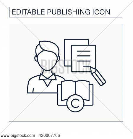 Author Line Icon. Writer Of Novel, Poem, Essay. Composer Of Literary Work, Articles. Intellectual Pr