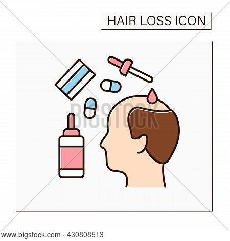 Treatment Color Icon. Medications For Hair Loss. Drugs And Special Serums For Restoring And Stimulat