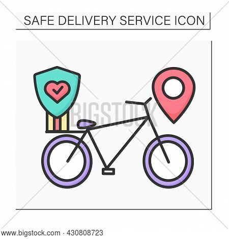 Bike Delivery Color Icon. Delivery Bike With Corona Virus Stop And Location. Safe And Fast Food And