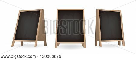Set Of Black Chalkboard A-frame Standees In Different Views. Realistic Blank Board For Menu Announce