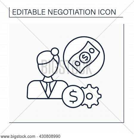 Salary Expectations Line Icon. Interview Question. Thinking About The Expected Salary Taking Into Pe