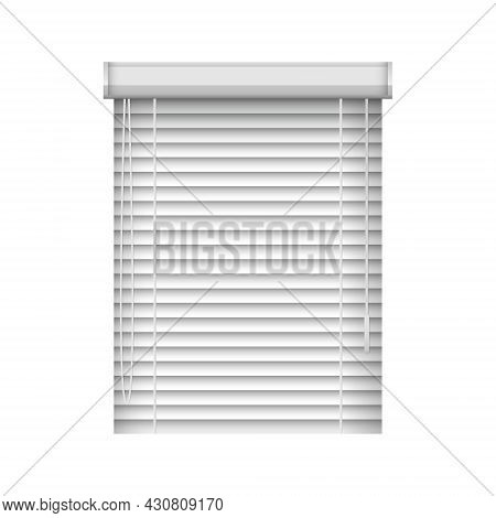 Realistic Closed Window Blinds. Horizontal Plastic Window Shutters. Vector Jalousie Mockup For Inter