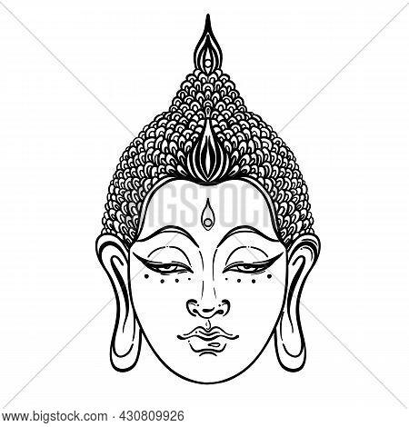 Buddha Face Isolated On White. Esoteric Vintage Vector Illustration. Indian, Buddhism, Spiritual Art
