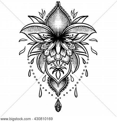 Lotus And Sacred Geometry. Ayurveda Symbol Of Harmony And Balance, And Universe. Tattoo Flesh Design