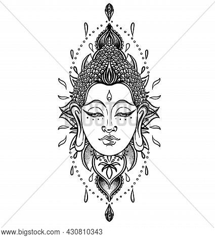 Buddha Face Over Ornate Mandala Round Pattern. Esoteric Vintage Vector Illustration. Indian, Buddhis
