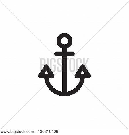 Simple Flat Anchor Icon Illustration Design, Silhouette Of Anchor Symbol Template Vector