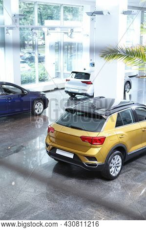 Vertical Shot Of New Automobiles For Sale At Dealership Salon