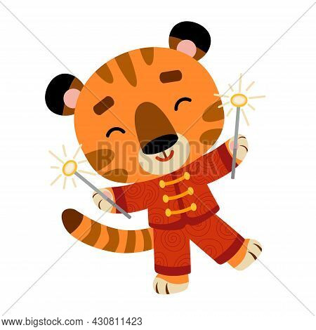Cartoon Vector Illustration For Children, Chinese New Year. Tiger And Sparklers