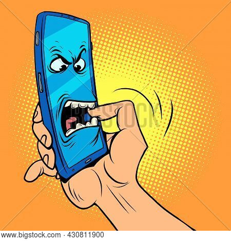 The Smartphone Character Bites His Hand. Dangerous Mobile Phones, Information Security And Online Ad