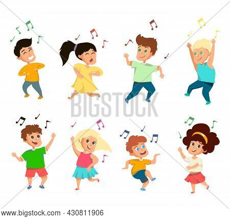 Set Of Funny Little Singing Kids On White Background. Cartoon Vector Illustration. Cute And Happy Ch