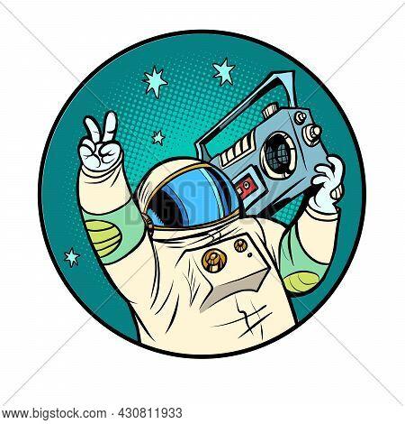 Astronaut With A Boombox, Disco Retro Music, Portable Audio