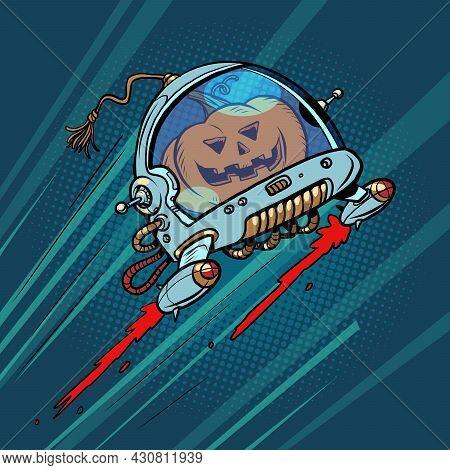 Halloween Pumpkin In Space, An Autumn Holiday. The Terrible Astronaut
