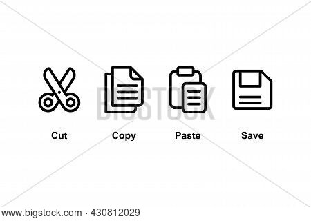 Set Of Simple Flat Copy Paste Icon Illustration Design, Copy Paste Symbol Collection With Outlined S