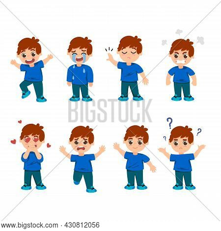 Set Of Emotions Of Little Boy Character. Cartoon Vector Illustration. Cute Kid With Different Smilin