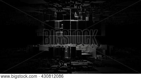 Abstracts Dark Sci Fi Building Background. 3d Rendering Illustration.