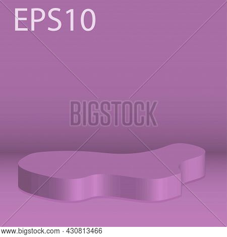 Abstract Minimal Scene With Geometrical Forms. Column Podium In Bright Purole Color Mock Up Scene To