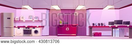 Home Appliances Store With Household Equipment And Counter With Cashbox. Vector Cartoon Interior Of