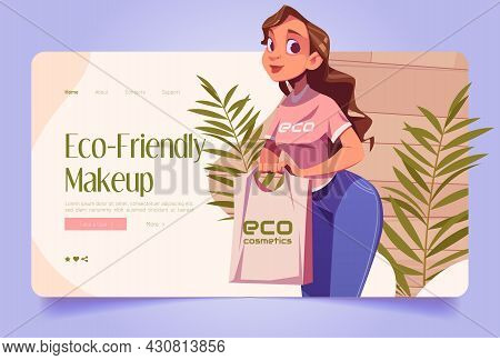 Eco-friendly Makeup Concept With Illustration Of Woman Shop Assistant With Eco Cosmetics In Bag. Vec