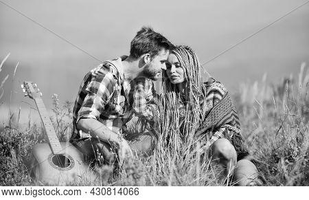 Breathtaking Feelings. Hiking Romance. Couple Happy Cuddling Nature Background. Boyfriend And Girlfr