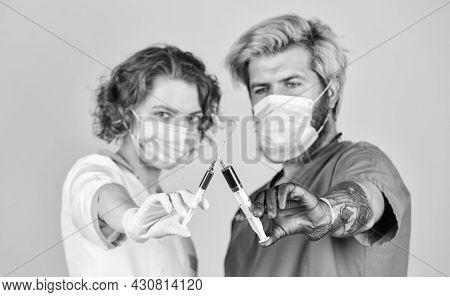 Stop Epidemic. Health Care. Vaccination Syringe Needle. Hospital Staff. Medicines. Intravenous Injec