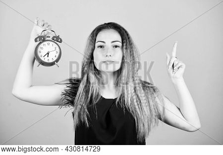 Time Management. Woman Hold Vintage Alarm Clock. Watch Repair. Punctuality And Discipline. Practice