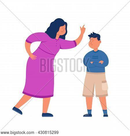 Angry Mother Screaming At Naughty Son. Flat Vector Illustration. Cartoon Woman Reproaching, Rebuking