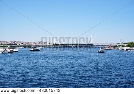 Panorama Of The Strait. View Of The Strait, Bridge And Pleasure Ships. July 08, 2021, Istanbul, Turk