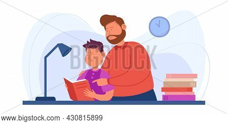 Cartoon Dad And Son Doing Homework Together. Flat Vector Illustration. Father Helping Small Child, T