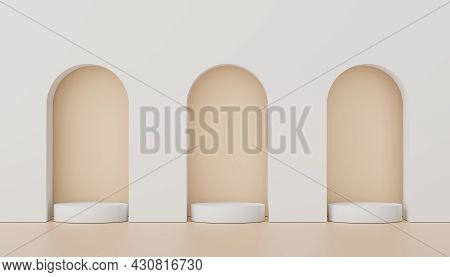 Abstract Display Podium With Minimal Geometric Shapes Design. 3d  Rendering Scene For Mock Up And Pr