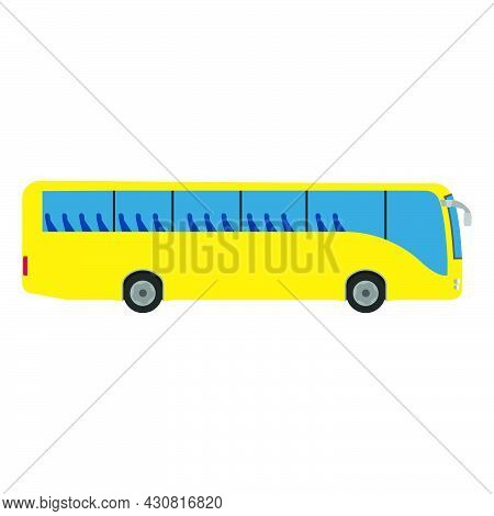 Bus Car Vector Transportation Travel Vehicle Illustration Icon. Passenger Public Bus Car Truck Side
