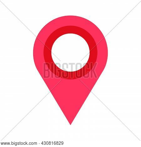Red Map Pin Vector Illustration Icon Isolated White Button Element. Position Point Pin Map Direction