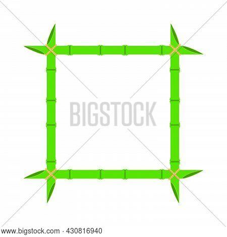 Green Bamboo Frame Vector Wood Design Illustration Nature Isolated White. Empty Border Bamboo Frame