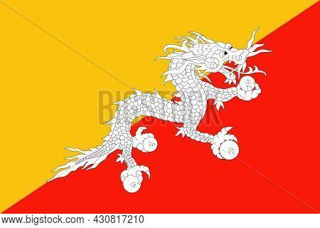 Flag Bhutan Vector Illustration Symbol National Country Icon. Freedom Nation Flag Bhutan Independenc