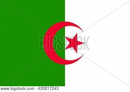 Flag Algeria Vector Illustration Symbol National Country Icon. Freedom Nation Flag Algeria Independe